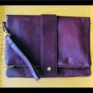 Maroon Leather Fold Over Clutch